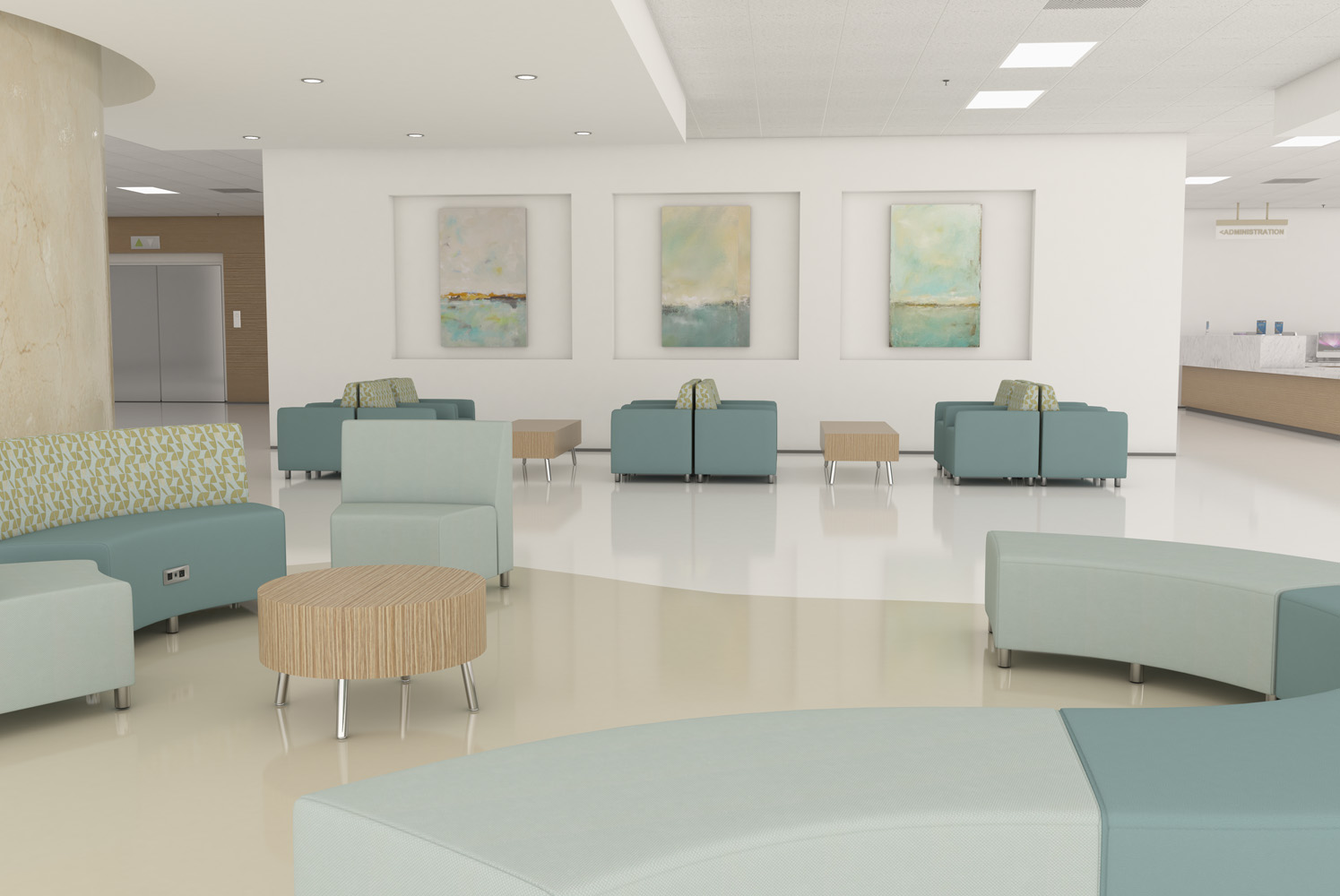 Lobby featuring Raven modular seating and Treno occasional tables