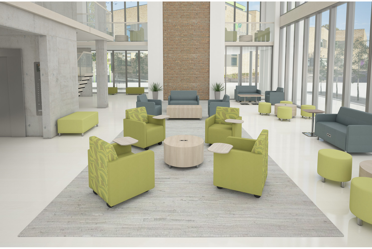 The versatile Raven collection includes modular, lounge, bench and banquette soft seating