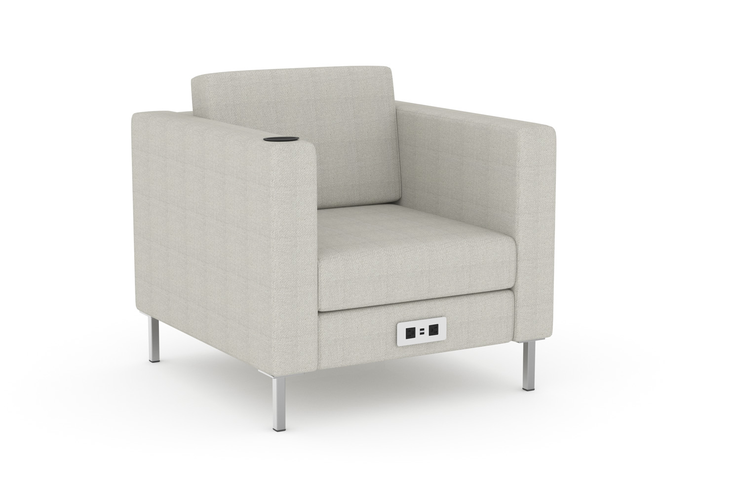 Sammy arm chair with optional cup holder and power/data